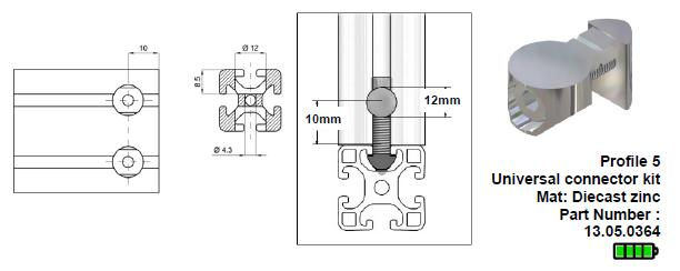 Aluminium profile universal connector